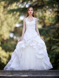 "Charming halter neckline sleeveless taffeta wedding dress, and some rhinestones and we have a ""like"""