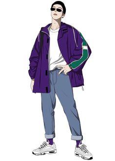 Fashion Illustration Poses, Boy Illustration, Character Illustration, Illustrations, Man Sketch, Cool Anime Guys, Clothing Sketches, Winter Outfits Men, Fashion Design Sketches