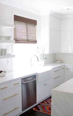 White Kitchen with Gold Hardware