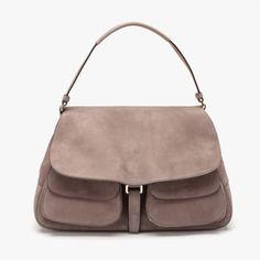 Bruno Magli Maddalena Large Suede Handbag in Grey featured in vente-privee.com