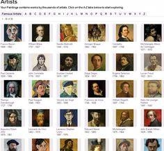 Valtavasti eri taiteilijoiden taidekuvia.