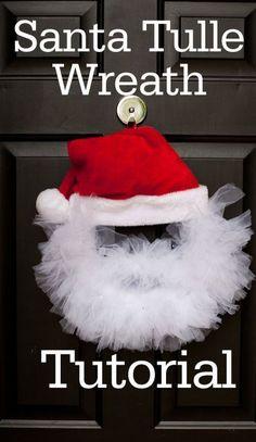 Christmas Wreath Ideas | Santa Tulle Wreath by @babyrabies | Santa Wreath tutorial
