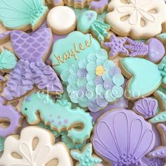 Under the sea cookies for girl baby shower. I like the color combo also! Little Mermaid Birthday, Little Mermaid Parties, Mermaid Baby Showers, Baby Mermaid, Sofia Mermaid, First Birthday Parties, First Birthdays, Birthday Ideas, 4th Birthday