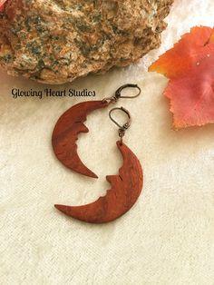 Crescent Moon earrings  handcarved wood by GlowingHeartStudios