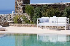 Mykonos pool villa with stunning sea views. Elegant holiday home with BBQ and shadded outdoors dining and seating areas. A celebration of life. Outdoor Sofa, Outdoor Furniture, Outdoor Decor, Mykonos, Greece, Bbq, Villa, Artist, Home