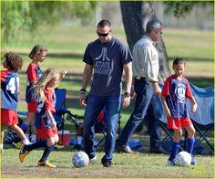 Heidi Klum and Martin Kirsten cheer on her kids Leni, Henry, Johan and Lou at their soccer game on November 10, 2013
