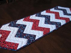 Patriotic Zigzag Quilted Table Runner red white and blue