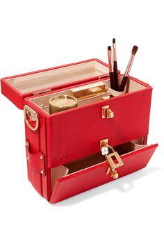 DOLCE & GABBANA Embellished glossed lizard-effect leather vanity case £2,239