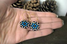 Items similar to Earrings - Capri Ice Crystals - Capri Blue, Black, White and MATTE gold - gold plated sterling hoop earrings on Etsy Seed Bead Jewelry, Bead Jewellery, Seed Bead Earrings, Silver Hoop Earrings, Crystal Earrings, Beaded Jewelry, Seed Beads, Beaded Brooch, Beaded Rings