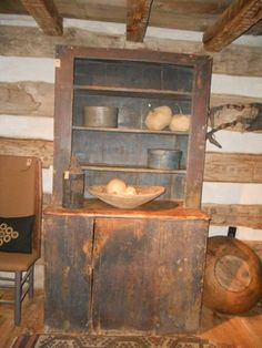 Cupboard ~ Curry's Antiques specializing in primitive american antiques and crafts from the and century. Primitive Home Decorating, Primitive Homes, Primitive Kitchen, Primitive Antiques, Country Primitive, Primitive Decorations, Colonial Furniture, Country Furniture, Vintage Furniture