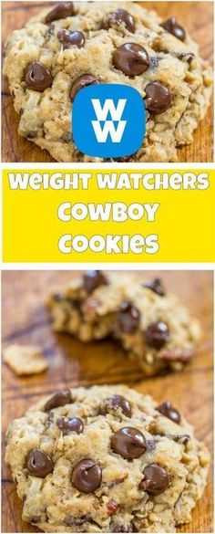 Weight Watchers How To Make Cowboy Cookies Ingredients 1 cup(s) quick cooking rolled oats cup(s) all-purpose flour tsp baking soda tsp table salt cup(s) unsalted butter, softene… Dessert Weight Watchers, Weight Watcher Cookies, Plats Weight Watchers, Weight Watchers Diet, W Watchers, Weigh Watchers, Ww Recipes, Low Calorie Recipes, Cookie Recipes