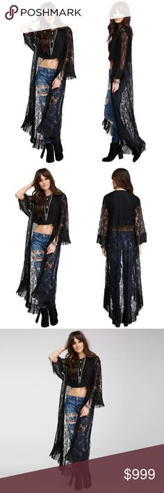 "BLACK LACE LONG FRINGED KIMONO Stunning, long lace kimono in black. The fabric has some stretch to it and is soft to the touch. Size SMALL; shoulder to shoulder: 14"", sleeve: 25.2, length: 55"". Medium; Shoulder to shoulder: 15"", sleeve: 25.2, length: 56.6 Large; shoulder to shoulder: 15.8, sleeve: 26"", length: 56.6"". No trades and a smoke free home. Thanks for stopping by @treasuresbytrac  Jackets & Coats"