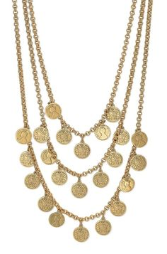 Stella & Dot Rio Triple Strand Coin Necklace