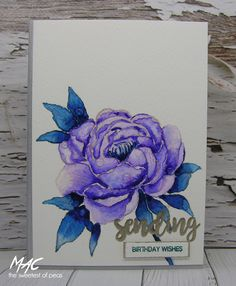 Uniko is celebrating their Birthday and I wanted to join in the party. I have used the pretty Uniko Peony stamp set and water col. Blue Birthday, Birthday Wishes, Send A Card, I Card, Peony Flower, Flowers, Congratulations To You, Colouring Techniques, Flower Stamp