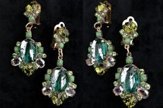 Old Czech Crystal Glass LARGE Green & Peridot Rhinestone Handmade HUSAR.D Designer Signed Drop Dangle Clip Earrings, Czechoslovakia Jablonec Bridal Earrings, Clip On Earrings, Drop Earrings, Mother Of The Bride Earrings, Jewelry Gifts, Jewellery, Green Peridot, Faceted Glass, Holiday Dresses