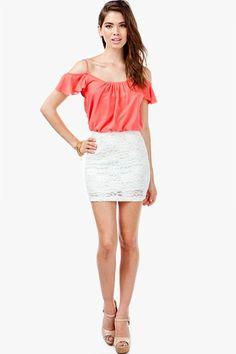 AGACI Flutter Cold Shoulder Lace Dress - DRESSES