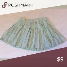 American Eagle Outfitters Light Green Mini Skirt American Eagle Outfitters Mini Skirt. Light Green. One Size Fits All. Waist is 27 inches normally and 50 inches stretched out all the way. 14 inches long from top to bottom. Perfect Condition. American Eagle Outfitters Skirts Mini