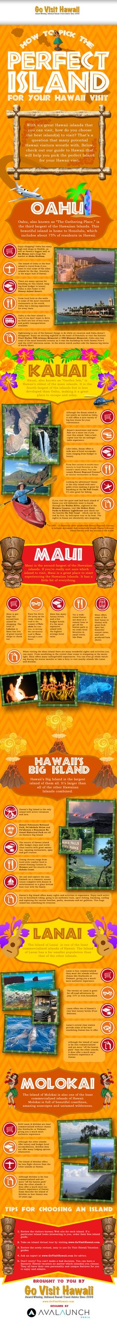 Hawaiian Vacation: Which Island To Visit?  This is a great infographic for learning which island in Hawaii is the one of your dreams!