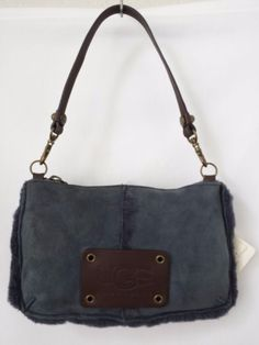 UGG Australia Bag Wristlet Clutch Blue Suede Shearling Trim and Lining  #UGGAustralia #WristletClutch #UGG