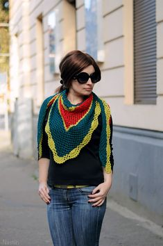 Crochet neck scarf / striped mesh triangular scarf / by Nastiin