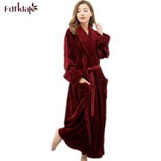 49ecaf733f Long Bathrobe Home Wear Clothes Dressing Gown Women s Bathrobe Coat Female  Flannel Nightdress Women Warm Bath Robes