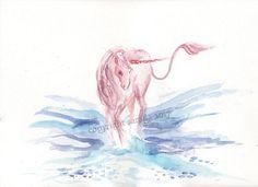 Pink unicorn original watercolor 9 x 12 magic mystic blue
