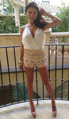 Gold Ivory Sequin Shorts Wrap Dress, Dress Up, Extra Credit, Sequin Shorts, Long Jackets, 40th Birthday, Brunettes, Short Skirts, Mother Of The Bride