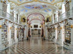 """Admont Abbey's library is the largest monastic library in the world. It's interesting to see how different styles of design determine the décor – this Baroque building has been called the Eight Wonder of the World due to it being the largest example of Late Baroque in Europe. It actually looks like Disneyland to me."""