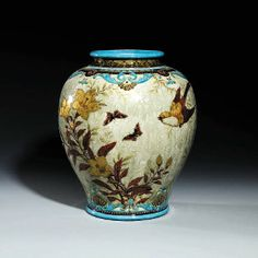 """Théodore Deck. A large faience jardiniere, c.1880 Hand-painted & gilded exterior decoration with nature motif. Interior with rich turquoise (""""Bleu Deck"""") glaze  15in. (38cm.) high. (Sold in 1990s auction for over 25K)"""