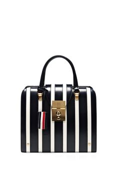 Shop Mrs. Thom Junior Striped Leather Tote by Thom Browne Now Available on Moda Operandi