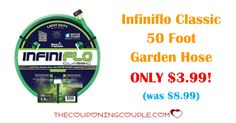 Get the Infiniflo Classic 50 Foot Garden Hose for ONLY $3.99 (was $8.99)! It's always great to have extra hoses, especially at this price!  Click the link below to get all of the details ► http://www.thecouponingcouple.com/infiniflo-classic-50-foot-light-duty-garden-hose/ #Coupons #Couponing #CouponCommunity  Visit us at http://www.thecouponingcouple.com for more great posts!