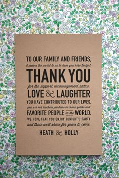 reception thank you card. by cheerupcherup on etsy.
