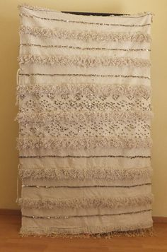 Vintage Moroccan Wedding Blanket Handira.H676    Traditionally hand made by Berber women in their homes in Atlas Mountain Region of Morocco This is