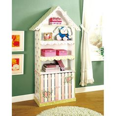 Take a look at this Pink & White Flower House Cabinet Bookcase by Teamson Design on today! So cute for Lauren's room! Dollhouse Bookcase, Bookcase Plans, Bookshelves Kids, Bookcases, Book Shelves, Dollhouse Miniatures, Nook, Fantasy Bedroom, Little Girl Rooms
