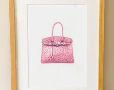 Hermes Birkin Bag - Watercolour Fashion Art - Wall Art - Pink Handbag