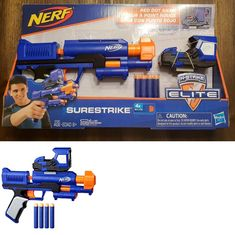Pinpoint targets with the red dot sight on this exclusive Nerf N-Strike Elite Surestrike blaster! Battlers can take aim at the competition with the electronic sight to help achieve a more precise shot. Nerf Recon, Ryan Toys, Outdoor Play Structures, Nerf Toys, Nerf War, Red Dot Sight, Wooden Playhouse, Outdoor Toys, Airsoft Guns
