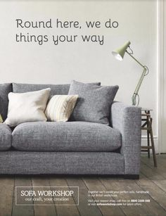 Family room couch - more subtle, more comfy. Dillon sofas from Sofa Workshop. Multiple sizes, configurations, and fabric options.  Living Etc Oct 2016 p. 167
