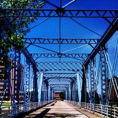 Grand Rapids Blue Bridge - Blue Pedestrian Bridge over The Grand River in Grand Rapids, Michigan. Central Michigan, Grand Rapids Michigan, Michigan Blue, Travel Around The World, Around The Worlds, Places To Travel, Places To Go, Pedestrian Bridge, Family Adventure