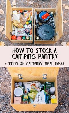 How to stock a Camping Pantry + tons of easy camp meal ideas! via camping ideas tips, rv camping destinations, camping supply list to stock a Camping Pantry + tons of easy camp meal ideas! Rv Camping, Camping Hacks, Checklist Camping, Camping Pantry, Zelt Camping, Camping Supplies, Camping Essentials, Camping Survival, Camping And Hiking