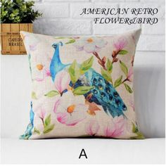 Peacock sofa cushion with flower garden style decorative pillows for couch