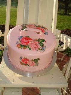   Cake Carrier Saver Cupcake Saver Vintage Metal Powder Puff Pink Double ...