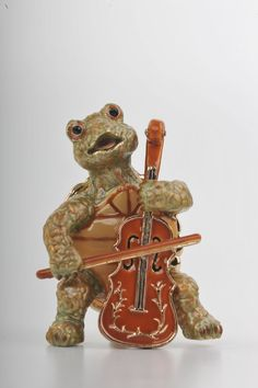 Turtle Playing the Cello Faberge Styled Trinket Box Handmade by Keren Kopal Enamel Painted Decorated with Swarovski Crystals