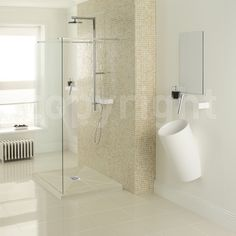 Notice the step to raise the shower floor from the actual bathroom floor.... Light & Spacious Walk In Shower