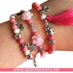 Beads bracelet with pink purple flowers roses tassel pineapple elephant shell flamingo www.jadorejewelry.net