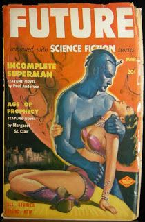Future Combined with Science Fiction Stories, December 1951 - Cover by Milton Luros Pulp Fiction Art, Fiction Movies, Science Fiction Art, Pulp Art, Pulp Magazine, Book And Magazine, Magazine Covers, Magazine Rack, Kitsch
