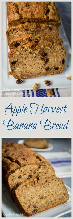 An easy banana bread that adds healthy whole grains and apples. A perfect treat for any time. | HostessAtHeart.com via @HostessAtHeart