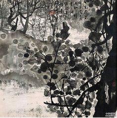 leaves - Chinese ink drawings of landscapes by Zhu Naizheng (朱 乃正) Art And Illustration, Illustrations, Landscape Drawings, Landscape Art, Landscape Paintings, Japanese Painting, Chinese Painting, Tinta China, China Art