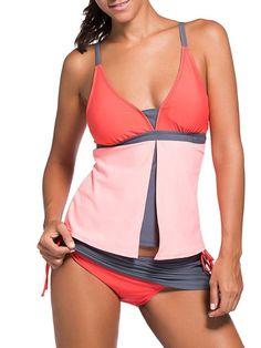 2Pcs Splicing Print Hit Color Swimsuit Tankini