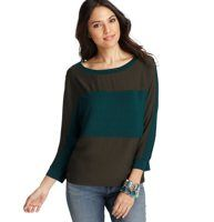Colorblocked Dolman Sleeve Top - Colorblocked detail and a relaxed fit make this soft must have the epitome of effortless chic. Boatneck. 3/4 dolman sleeves. Colorblocked front. Solid back. Banded neckline and cuffs.