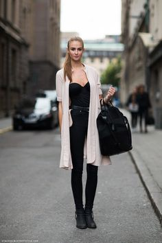 strapless top + black jeans